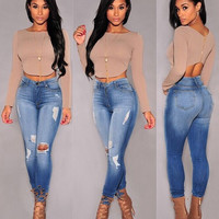 Fashion Cotton Denim Pants Stretch Womens Bleach Ripped Knee Skinny Jeans Denim