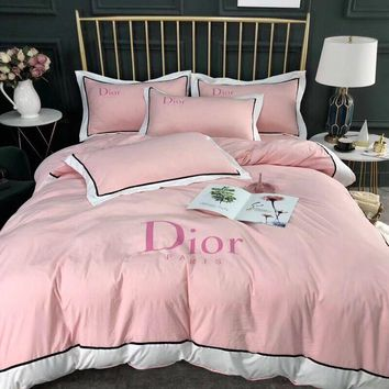DIOR Luxury Designer Bedding Blanket Quilt Coverlet 2 Pillows Shams 4 PC Bedding Set
