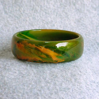 """Bakelite Bracelet End Of Day Marble Swirl Vintage Art Deco Bangle Catalin Thick Spinach Green Orange Mustard Yellow 1"""" Wide Cuff 30's"""