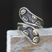 Mexican Bypass Rings Sterling Silver Wrap Around Taxco