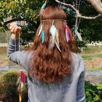 Indian Style Feather Hair Accessories Woven Peacock Feather Hair Bands Headband