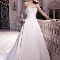 Casablanca Bridal 2130 Strapless Beaded Bodice Satin A-Line Wedding Dress