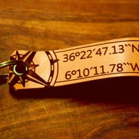 Coordinates keyjob and initials -Compass Keychain - Custom Leather Keychain . Personalized Keyjob . coordinates.Engraved Tag