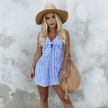 First Impressions Blue Stripe Romper