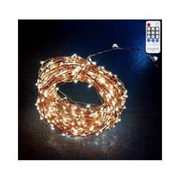 E-Age Newest Connectable Series 3V 33ft 100LED Copper Wire Starry String Lights + Loop Closing Cap(Warm White)