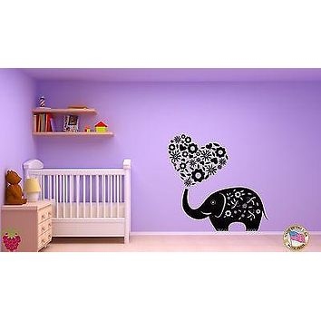 Wall Sticker Elephant Flowers Hearts Romantic Decor for Bedroom Unique Gift z1428