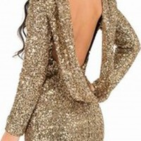 Open Back Sequins Long Sleeve Backless Bodycon Dress