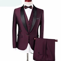 Burgundy Wedding Suits Fashion Shawl Collar Men Royal Blue with Pants