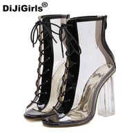 DiJiGirls with open-toed transparent PVC women high heels sweet casual Gladiator sexy sandals mujer shoes woman free shipping