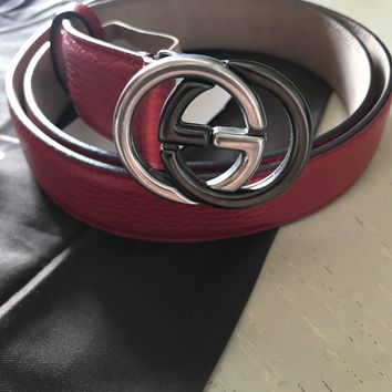 New $545 Gucci Women's Genuine Leather GG Belt Red Size 110/44 Italy