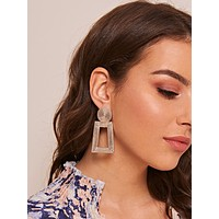 1pair Metallic Open Rectangle Drop Earrings