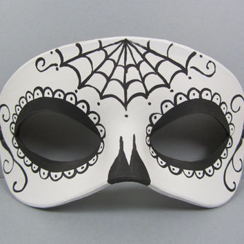 Day of the Dead Spiderweb Black and White Leather Mask, Unisex