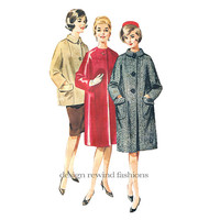 1960s Butterick 2877 COAT Pattern Long Sleeves Collarless or Rolled Collar Coat or Jacket Size 16 Bust 36 UNCuT Womens Sewing Pattern