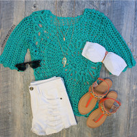 Alabama Crochet Top in Green