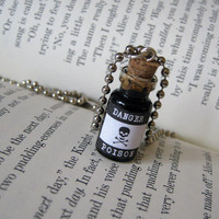 Poison 1ml Glass Vial Bottle Necklace Pendant Charm - Goth Toxic Toxin