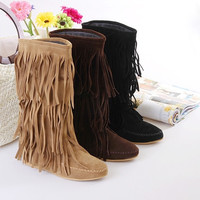 2015 winter New fashion spring sexy students winter snow long boots Women's 3 Layer Fringe Tassels Flat Heel Boots sexy party shoes Decoration Mid-Calf Slouch school students Shoes elegant boots on sale = 1945913732