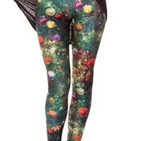 Womens Christmas Tree Colorful Ball Printed Designer Leggings - PINK QUEEN