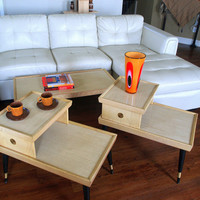 50s MID CENTURY FURNITURE Vintage Set of Blonde Wood Tables Retro Coffee Table 2 Atomic Step Up 2 Tier Lamp End Tables Mid Mod Living Room