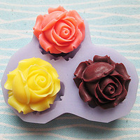 Three Holes Roses Flower Silicone Mold , Bowknot Shaped Baking Fondant Cake Choclate Candy Mold,L7.3cm*W7.3cm*H0.9cm