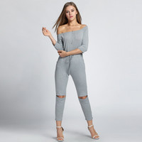 Fashion Women's  Jumpsuit Off Shoulder Open Knee Slash Neck 3/4 Sleeve Pocket Casual  Clubwear Solid Slim Female Rompers