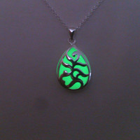 Green Glowing Necklace, Glowing Jewelry,  Glow in the Dark Pendant, Glow necklace, Gift for Her