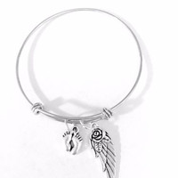 Adjustable Bangle Charm Bracelet Baby Feet Angel Wing Heaven Miscarriage Gift