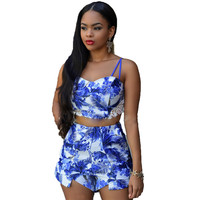 SE66 Women V-Neck Spaghetti Strap Lace Insert Blue Floral Print Twin Set Beach Playsuits Rompers Tops&Shorts Size Plus S-XL 2016
