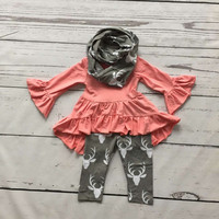 FALL OUTFITS persnickety girls 3 pieces scarf sets girls Christmas boutique clothing baby girls reindeer pant outfits coral top