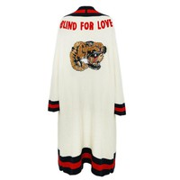 """""""Gucci"""" Women Sequin Tiger Head Letter Embroidery Knit Long Sleeve Medium Long Section Cardigan Coat"""