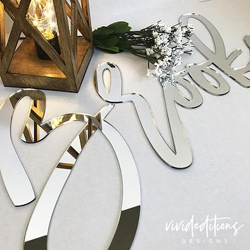 """18"""" Silver Mirror Small Personalized Name Sign"""