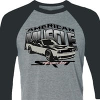 Muscle Car tShirt -Dodge Challenger Hellcat tshirt-Baseball Shirt in Heather Grey and Black