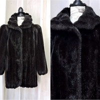 Black faux fur coat size S / M / 80 Jordache USA /  black faux mink coat / vintage black fake fur coat