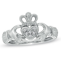 Diamond Accent Claddagh Ring in 10K White Gold