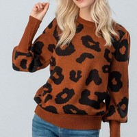 Leopard Sweater - Rust