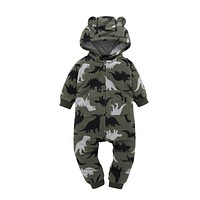 born Baby Boy one piece romper cotton green dinosaur hooded Long sleeve clothing for spring toddler baby girl overalls