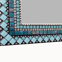 Mixed Media Mosaic Mirror in Turquoise and Silver
