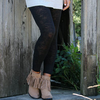 End of the Road Black Burnout Leggings