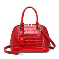 fashion Red tote bag high quality Patent