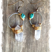 Raw Crystal Earrings Raw Quartz Earrings Unusual Earrings