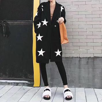 """""""Givenchy"""" Women Casual Fashion Five-pointed Star Cardigan Tailored Collar Long Sleeve Middle Long Section Woolen Coat"""
