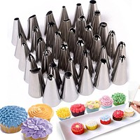 35pcs/Sets Stainless Steel Pastry Tips Cake Decorating Tools Icing Piping Nozzles Baking Bakery Confectionery Pastry Too