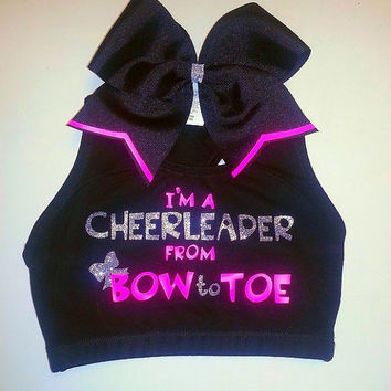 I'm A Cheerleader From Bow to Toe Sports Bra With Matching Bow