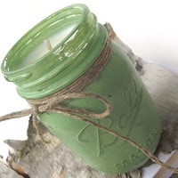 Lime Citronella scented Soy Candle - Hand Poured Soy Candle -- 16 ounce Hand Painted Mason Jar