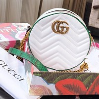 Gucci Gucci 2020 new Marmont camera bag round bag embroidered shoulder bag crossbody bag female bag white green edge