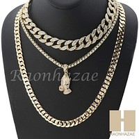 "14K GOLD PT PRAYING HANDS MIAMI CUBAN 16""~30"" CHOKER TENNIS CHAIN S038"