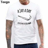 A JAY A DAY KEEPS DOCTOR AWAY Cotton T SHIRT WEED HYPE SMOKE KANYE TOP Tee