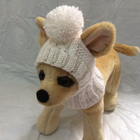 Pet Clothes Apparel Winter Outfit Crochet Dog Hat  for Small Dogs Hand Knitted White Hoody Snow hatXS Size Nice Gift