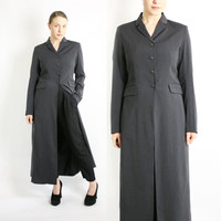 Vintage 90's Grey Maxi Long Duster Jacket Coat - Medium