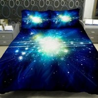 Anlye Galaxy Quilt Cover Galaxy Duvet Cover Galaxy Sheets Outer Space Bedding Set with 2 Matching Pillow Covers (Twin)