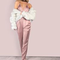Low Back Cross Back Satin Jumpsuit DUSTY PINK -SheIn(Sheinside)